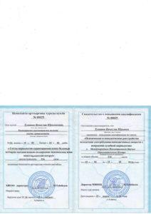 Свидетельство о прохождении квалификации Туманов 2016