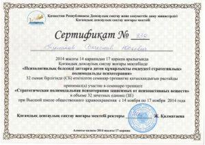 Сертификат Туманов 2014